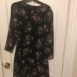Zara Navy Floral Long-sleeve Dress